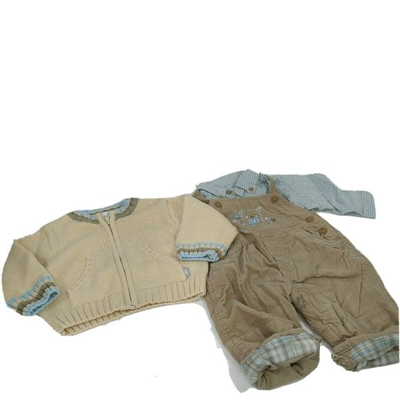 The Childrens Place Outfit Sweater Overalls Shirt Boys Size 3-6 Months Tan Brown